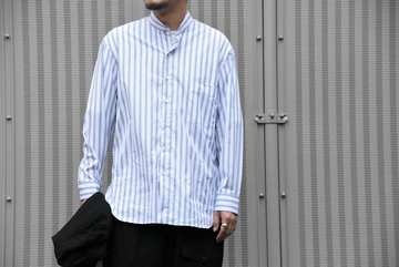 【2020 SS】 Cristaseya(クリスタセヤ)/ HANDMADE POPELINE MAO SHIRT With FRINGED COLLAR -WHITE with STRIPE- #02SP-WBS-SH