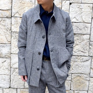 【30% off sale】【2020】FRANK LEDER(フランクリーダー) / BLUE LINEN WORK JACKET -BLUE- #0912059