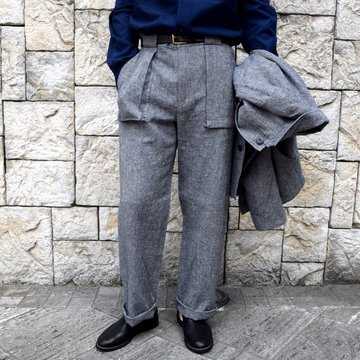 【30% off sale】【2020】FRANK LEDER(フランクリーダー)/ BLUE LINEN TROUSERS WITH GUSSET POCKET -BLUE- #0913062