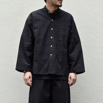 【2020 SS】 Cristaseya(クリスタセヤ)/ STRIPED SEERSUCKER PAJAMA SHIRT -Black/Brown striped#02DA-S-ST