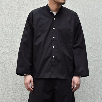 【30% off sale】【2020】 Cristaseya(クリスタセヤ)/LIGHT COTTON PAJAMA SHIRT-Black- #02DA-C