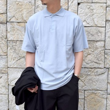 【2020】AURALEE(オーラリー)/ HARD TWIST AMUNZEN DOUBLE CLOTH POLO -L.BLUE- #A20SP02KN