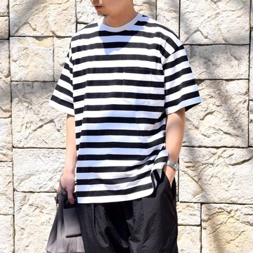 【2020】Graphpaper (グラフペーパー)/ BORDER POCKET TEE S/S -WHITE×BLACK- #GM201-70149B