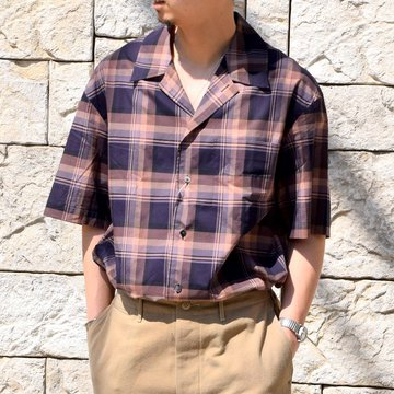 【2020 SS】blurhms(ブラームス) / OPEN COLLAR SHIRT S/S -DARK MADRAS- #BHS-20SS018CP