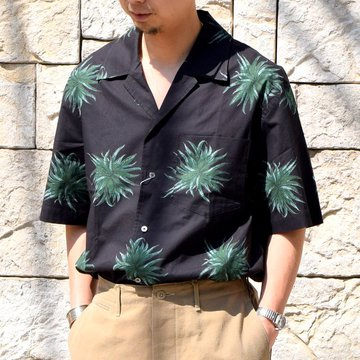 【30% off sale】【2020】blurhms(ブラームス) / OPEN COLLAR SHIRT S/S -PLANT- #BHS-20SS018CP