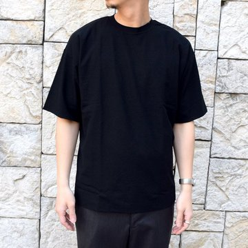【2020 SS】AURALEE(オーラリー)/ HARD TWIST AMUNZEN DOUBLE CLOTH TEE -BLACK- #A20ST01KN
