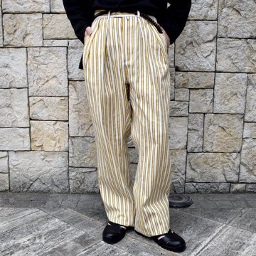 【2020 SS】NEAT(ニート)/ LAL STRIPE WIDE PANTS -PURPLE×YELLOW- #20-01LSW