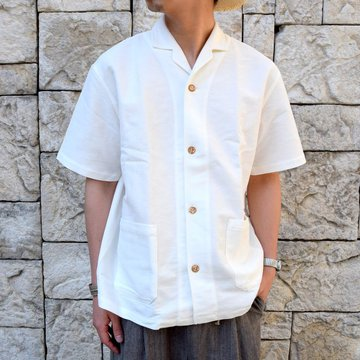 【30% off sale】FRANK LEDER(フランクリーダー)/ WHITE LINEN S/S OPEN COLLAR SHIRT -WHITE- #0916053