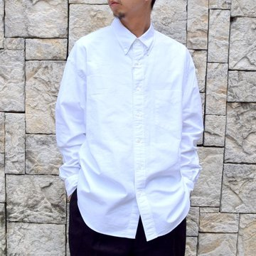 Graphpaper (グラフペーパー)/ OXFORD L/S B.D BOX SHIRT -WHITE- #GM203-50112B