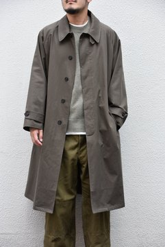 Cristaseya(クリスタセヤ)/ JAPANESE COTTON OVERSIZED TRENCH WITH LEATHER PATCH -KHAKI- #01KA-CO-KH