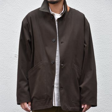 Cristaseya(クリスタセヤ)/ COTTON OVERSIZED BLOUSON WITH LEATHER PATCH -BROWN- #07KA-CO-BR