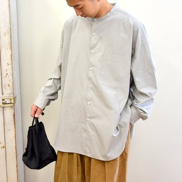 【2020】''THOMAS MASON'' for GP/ OVERSISED BAND COLLAR SHIRT -L.GRAY- #GM203-50083