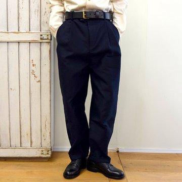 【2020】FRANK LEDER(フランクリーダー)/ MOLESKIN 2TUCK TROUSERS -NAVY- #0723026