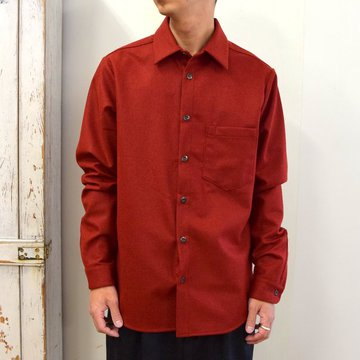 【2020】FRANK LEDER(フランクリーダー)/ LIGHT WEIGHT LODEN WOOL PLAIN SHIRT -RED- #0726027