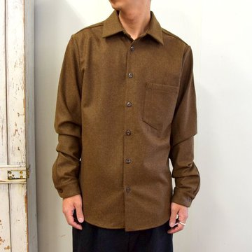 【2020】FRANK LEDER(フランクリーダー)/ LIGHT WEIGHT LODEN WOOL PLAIN SHIRT -BROWN- #0726027