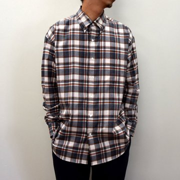 【2020】Graphpaper (グラフペーパー)/ THOMAS MASON FOR GP CHECK B.D BOX SHIRT -GRAY×ORANGE- #GM203-50180