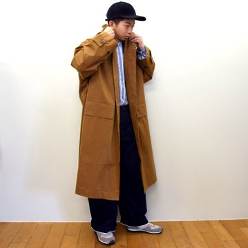 STUDIO NICHOLSON(スタジオニコルソン)/ MERAKA COTTON POLY REMOVABLE HOODED MAC -COGNAC- #SNM-360
