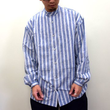 E. TAUTZ(イートウツ)/ COLLARLESS LINEMAN SHIRT -BLUE STRIPE- #