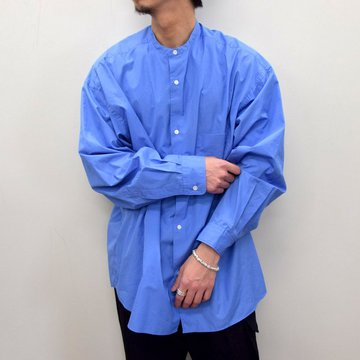 Graphpaper (グラフペーパー)/ BROAD OVERSIZED L/S BAND COLLAR SHIRT -BLUE- #GM211-50111B-GR