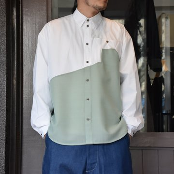 [2021]amachi.(アマチ) Sculpture Line Shirt -GREEN GRAY×WHITE #AY8-8