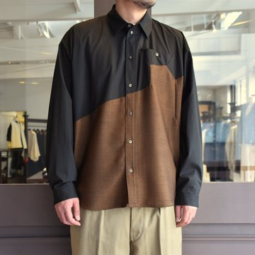 [2021]amachi.(アマチ) Sculpture Line Shirt -BROWN×BLACK #AY8-8