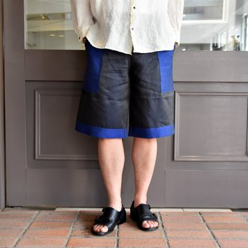 [2021]amachi.(アマチ) Panel Denim Shorts-Dark Gray×Blue- #AY8-23