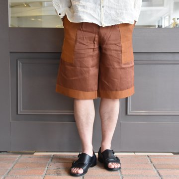 [2021]amachi.(アマチ) Panel Denim Shorts-Brown×Orange- #AY8-23
