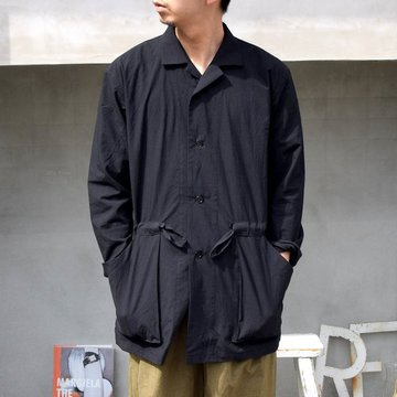 FRANK LEDER(フランクリーダー)/TRIPLE WASHED THIN COTTON SHIRT JACKET WITH DRAWSTRING -BLACK- #0916082