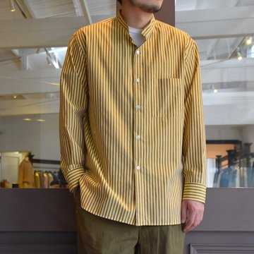 [2021]Cristaseya(クリスタセヤ)/STRIPED COTTON MAO SHIRT -YELLOW BROWN STRIPES- #08DA-ST-YBRS