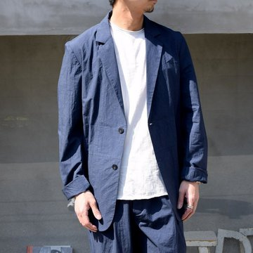 FRANK LEDER(フランクリーダー)/ TRIPLE WASHED THIN COTTON 2B JACKET -NAVY- #0912085-39