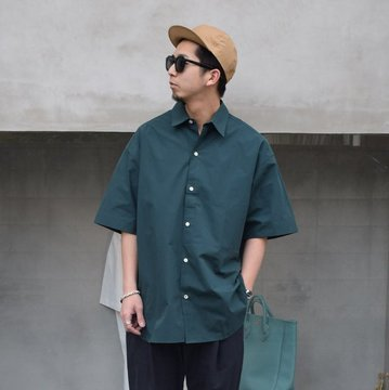 STUDIO NICHOLSON(スタジオニコルソン)/ SORONO POWDER COTTON OVERSIZED S/S SHIRTS -WAKAME- #SNM-567