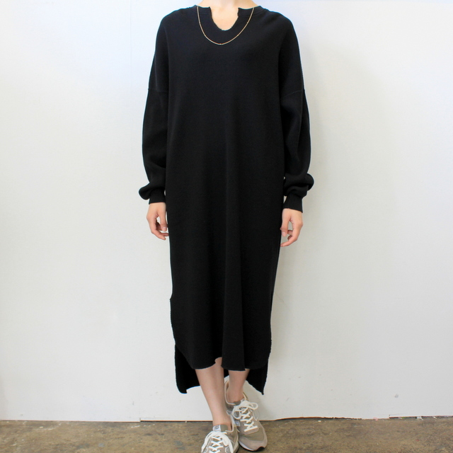 【30% off sale】Graphpaper(グラフペーパー)【20 SS】Waffle L/S Slit Neck Dress(2色展開)_GL201-70132B【K】(1)