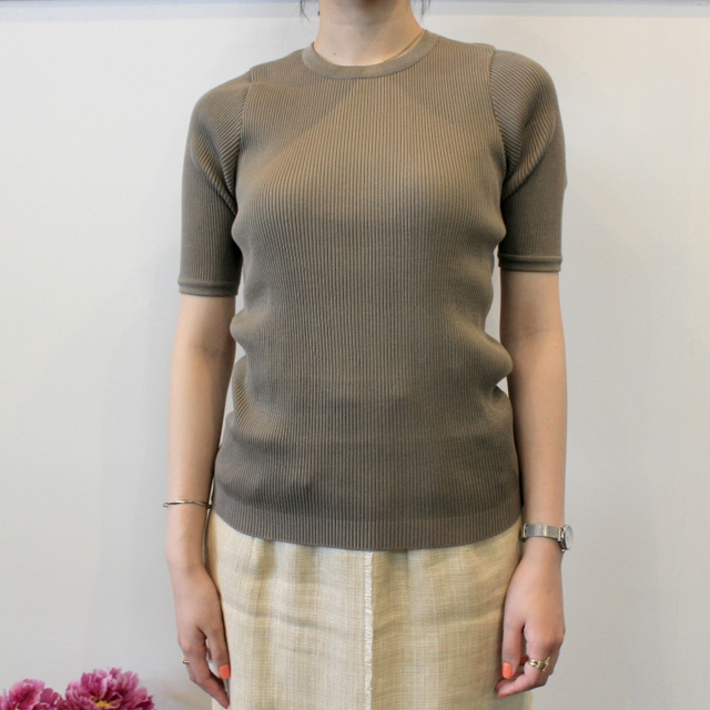 AURALEE(オーラリー) 【20SS】HIGH GAUGE RIB KNIT TEE(2色展開)_A20ST01HR【K】(1)