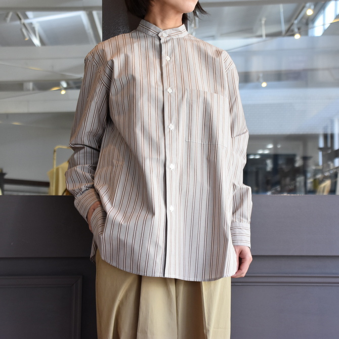 CristaSeya(クリスタセヤ)/ JAPANESE STRIPED COTTON MAO SHIRT #08DA-ST-LBRS(1)