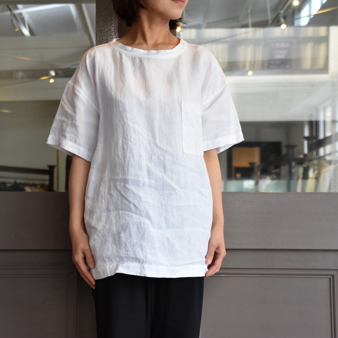 TOUJOURS(トゥジュー)  Stone Washed Belgian Linen Big T-shirt #SM34PS02(1)