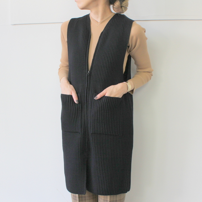 【40% off sale】AURALEE(オーラリー) SUPER WOOL RIB KNIT LONG VEST_A9AV07RK【K】(2)