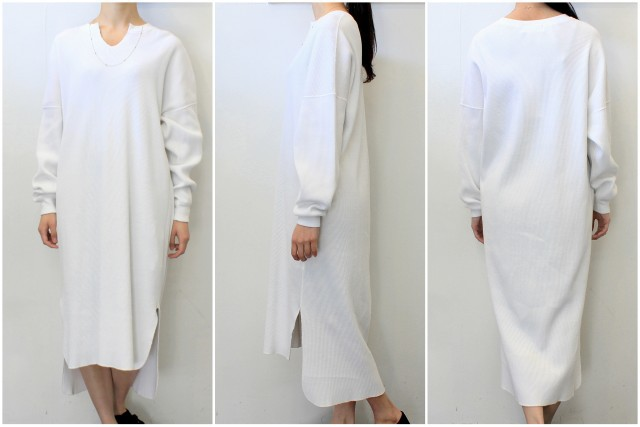 【30% off sale】Graphpaper(グラフペーパー)【20 SS】Waffle L/S Slit Neck Dress(2色展開)_GL201-70132B【K】(2)