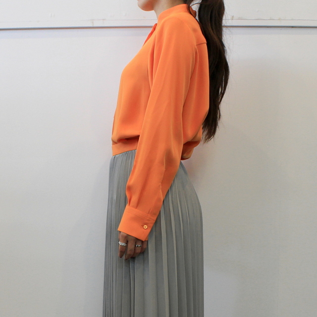 Graphpaper(グラフペーパー)【20 AW】Satin Band Collar Blouse (ORANGE)_GL203-50034【K】(2)