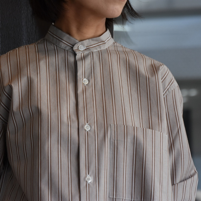 CristaSeya(クリスタセヤ)/ JAPANESE STRIPED COTTON MAO SHIRT #08DA-ST-LBRS(2)