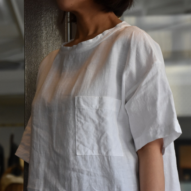 TOUJOURS(トゥジュー)  Stone Washed Belgian Linen Big T-shirt #SM34PS02(2)