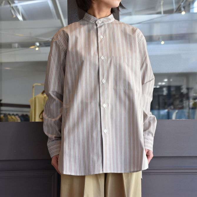 CristaSeya(クリスタセヤ)/ JAPANESE STRIPED COTTON MAO SHIRT #08DA-ST-LBRS(3)