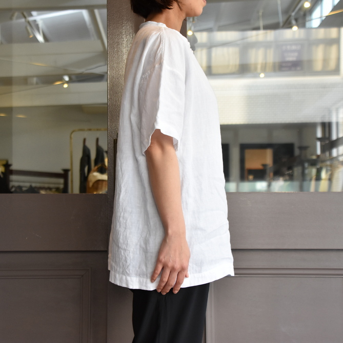 TOUJOURS(トゥジュー)  Stone Washed Belgian Linen Big T-shirt #SM34PS02(3)