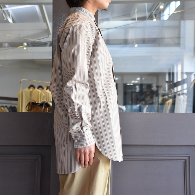CristaSeya(クリスタセヤ)/ JAPANESE STRIPED COTTON MAO SHIRT #08DA-ST-LBRS(4)