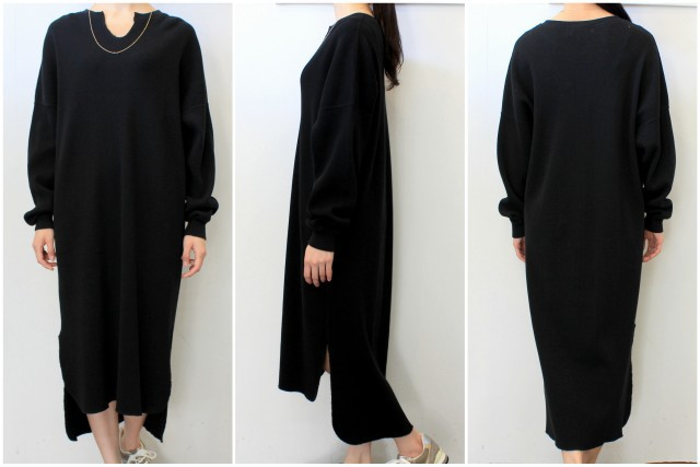 【30% off sale】Graphpaper(グラフペーパー)【20 SS】Waffle L/S Slit Neck Dress(2色展開)_GL201-70132B【K】(5)