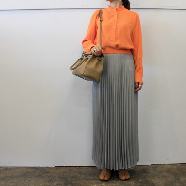 【30% off sale】(グラフペーパー)【20 AW】Satin Band Collar Blouse (ORANGE)_GL203-50034【K】(7)