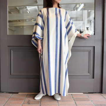 CristaSeya(クリスタセヤ)/ LIGHT COTTON OVERSIZED CAFTAN (WHITE / BLUE STRIPE) #07DA-C-BS