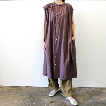TOUJOURS(トゥジュー)【20SS】Pleated Sleeveless Shirt Dress_MM32ND03【K】