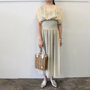【30% off sale】YOKE(ヨーク)【20SS】SHEER SHIRRING DRESS(2色展開)_YKL20SS0008OP【K】