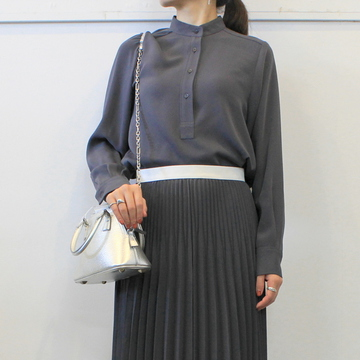 Graphpaper(グラフペーパー)【20 AW】Satin Band Collar Blouse (C.GRAY)_GL203-50126B【K】