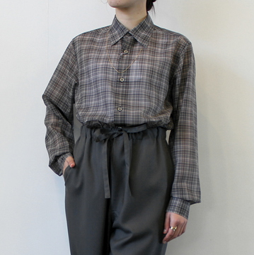 AURALEE(オーラリー)【21SS】WOOL RECYCLE POLYESTER SHEER CHECK SHIRTS_A21SS01RC【K】